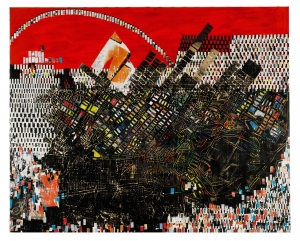 Mark Bradford - Scorched Earth, 2006, billboard paper, photomechanical reproductions, acrylic gel medium, carbon paper, acrylic paint, bleach, and additional mixed media on canvas