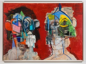 George Condo - Double Heads on Red, 2014, acrylic, charcoal, pastel on linen