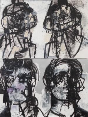 George Condo - Self Portraits Facing Cancer 1, 2015, acrylic, oil, and pigment stick on canvas, in two parts
