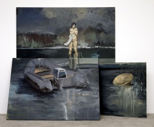 Eric Fischl - The Evacuation of Saigon, 1987, oil on three linen panels