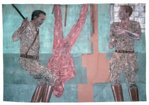 Leon Golub - Interrogation I, 1980-81, acrylic on linen