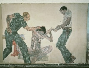 Leon Golub - Interrogation III, 1981, acrylic on canvas