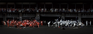 Andreas Gursky - F1 Boxenstopp I, 2007, chromogenic print mounted on Plexiglas in artist's frame