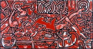 Keith Haring - Red Room, 1988, acrylic on canvas