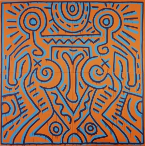 Keith Haring - Untitled, 1984, acrylic on four muslin panels