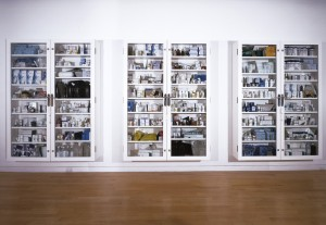 Damien Hirst - No Arts; No Letters; No Society., 2006, glass, Formica, MDF aluminum, steel, metal supports, surgical equipement, broken mirror, rosary beads, anatomical skulls, duct tape and pharmaceutical packaging