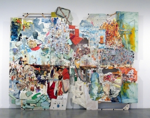 Elliott Hundley - the high house low!, 2011, wood, sound board, inkjet print on Kitakata, paper, pins, magnifying glass, photographs, plastic, metal