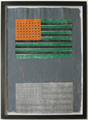 Jasper Johns - Flags, 1968, color lithograph with stamps