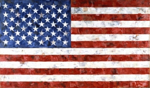 Jasper Johns - Flag, 1967, encaustic and collage on canvas (three panels)