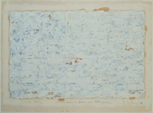 Jasper Johns - White Flag, 1960, oil and newspaper collage over lithograph