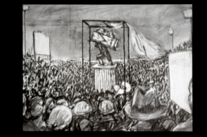 William Kentridge - Monument, 1990, 16mm animated film