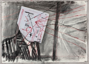 William Kentridge - Drawing for 'Other Faces', 2011, charcoal, colored pencil and found ledger paper on paper