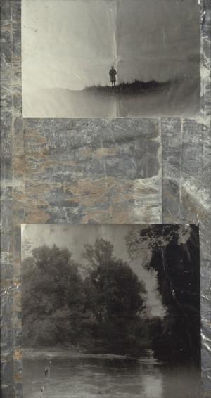 Anselm Kiefer - Am Rhein, 1968-91, photograph on treated lead in a glazed steel frame