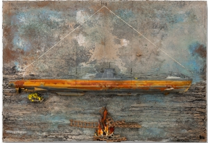 Anselm Kiefer - Arche (german) Ark (english), 2011, emulsion, shellac, pottery, salt, cardboard, lead boat