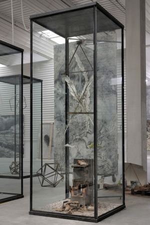 Anselm Kiefer - Athanor, 2011, mixed media in inscribed glass and steel vitrine
