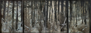 Anselm Kiefer - Entrance to Paradise, 2010, oil, emulsion, acrylic, shellac, thorn bushes, photographs, and lead on canvas in glass and steel frames