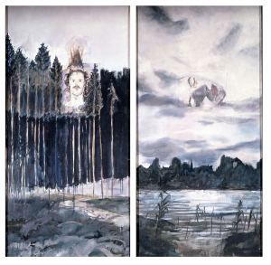 Anselm Kiefer - Kopf im Wald, Kopf in den Wolken, 1971, oil and fabric collage on two canvas panels
