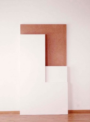 Imi Knoebel - vivitis, 1987, acrylic on plywood and fiberboard in three parts