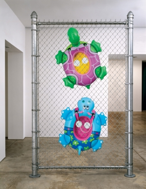 Jeff Koons - Chainlink Fence, 2003, polychromed aluminum, galvanized steel