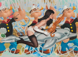 Jeff Koons - Girl with Dolphin and Monkey Triple Popeye (Seascape), 2010, oil on canvas