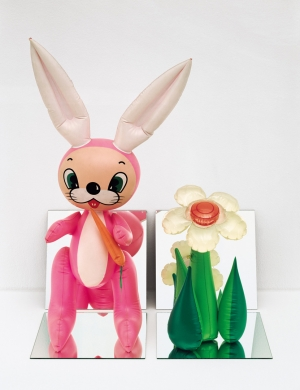 Jeff Koons - Inflatable Flower and Bunny (Tall White and Pink Bunny), 1979, vinyl, mirrors