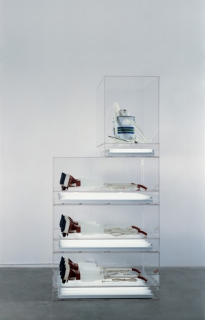 Jeff Koons - New Hoover Deluxe Shampoo Polishers, New Shelton Wet/Dry 5-Gallon Displaced Quadradecker, 1981-1987, six shampoo polishers, vacuum cleaner, acrylic, fluorescent lights