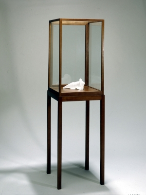 "Sherrie Levine - Untitled (The Bachelors: ""Larbin""), 1989, frosted glass and vitrine"
