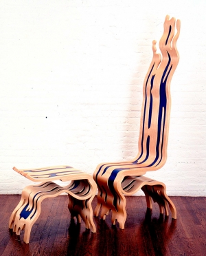 Roy Lichtenstein - Brushstroke Chair and Ottoman, 1986-88, paint and varnish on laminated birch veneer