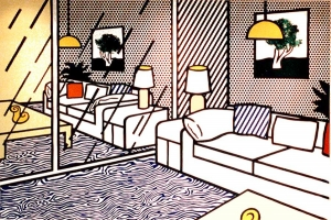 Roy Lichtenstein - Wallpaper with Blue Floor Interior, 1992, 36-color screenprint on five panels