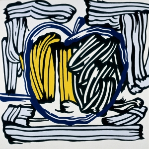 Roy Lichtenstein - Green and Yellow Apple, 1981, Magna on canvas