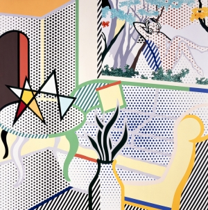 Roy Lichtenstein - Interior with Painting of Bather, 1997, oil and mineral spirits acrylic on canvas