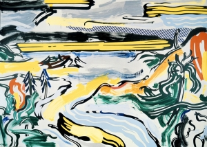 Roy Lichtenstein - River Valley, 1985, oil and Magna on canvas