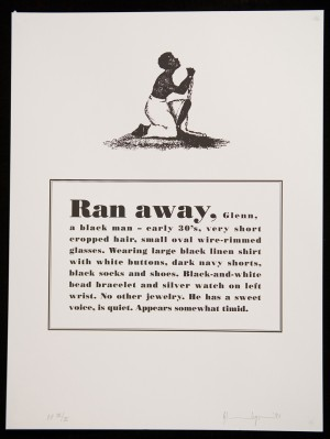 Glenn Ligon - Runaways, 1993, suite of ten lithographs