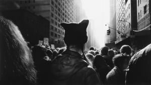 Robert Longo - Untitled (Black Pussy Hat in Women's March), 2017, charcoal on mounted paper