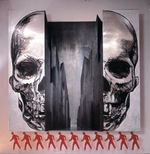 Robert Longo - Walk, 1986, lead, wood, oil and plastic paint on aluminum; plexiglass