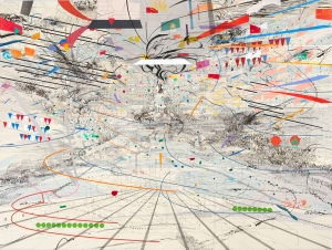 Julie Mehretu - Congress, 2003, ink and acrylic on canvas