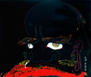 Takashi Murakami - My arms and legs rot off and though my blood rushes forth, the tranquility of my heart shall be prized above all. (Red blood, black blood, blood that is not blood), 2007, acrylic and platinum leaf on canvas mounted on board, signage in platinum and gold leaf