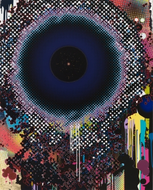 Takashi Murakami - Warp, 2009, acrylic, platinum leaf, and gold leaf on canvas mounted on aluminum frame