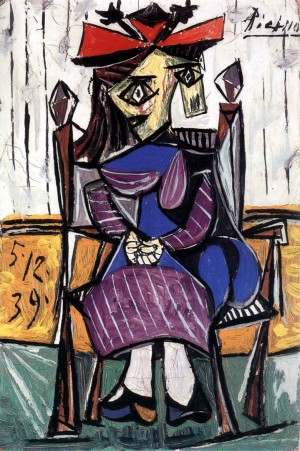 Pablo Picasso - Femme assise, 1939, oil on board