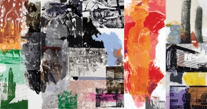 Robert Rauschenberg - Caryatid Cavalcade II / ROCI CHILE, 1985, acrylic on canvas
