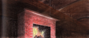 Ed Ruscha - Rough Fireplace Study, 1977, pastel and graphite on paper