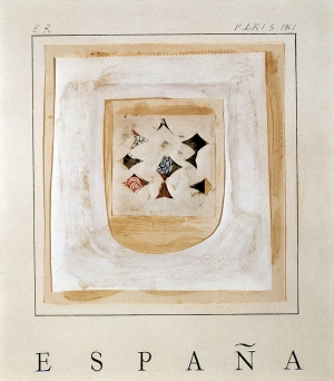 Ed Ruscha - ESPANA GRANDE, 1961, ink, oil, and collage on paper