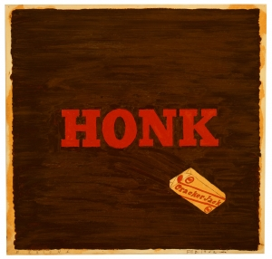 Ed Ruscha - Honk (Cracker Jack), 1962, oil, black ink, and pencil on paper mounted on board