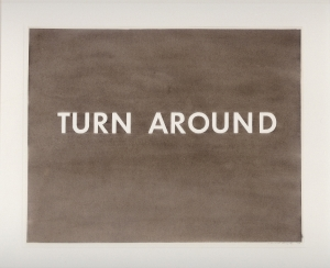 Ed Ruscha - Turn Around, 1979, gunpowder on paper