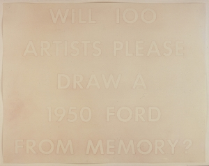 Ed Ruscha - WILL 100 ARTISTS PLEASE DRAW A 1950 FORD FROM MEMORY?, 1977