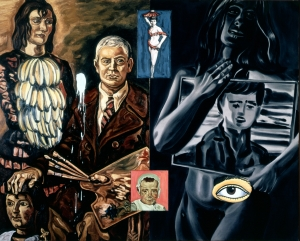 David Salle - Searching Out Buddha, 1988, acrylic and oil on two canvas panels