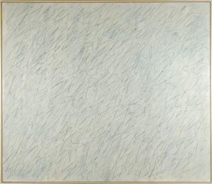 Cy Twombly - Nini's Painting [Rome], 1971, oil based house paint, wax crayon, and lead pencil on canvas