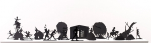 Kara Walker - Burning African Village Play Set with Big House and Lynching, 2006, painted laser cut steel