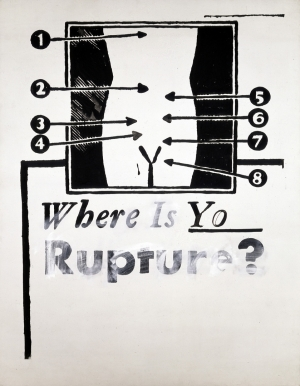 Andy Warhol - Where is your Rupture? [1], 1961, water-based paint on cotton