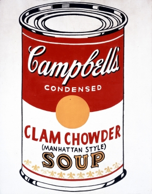 Andy Warhol - Campbell's Soup Can (Clam Chowder - Manhattan Style) [Ferus Type], 1962, casein and pencil on linen